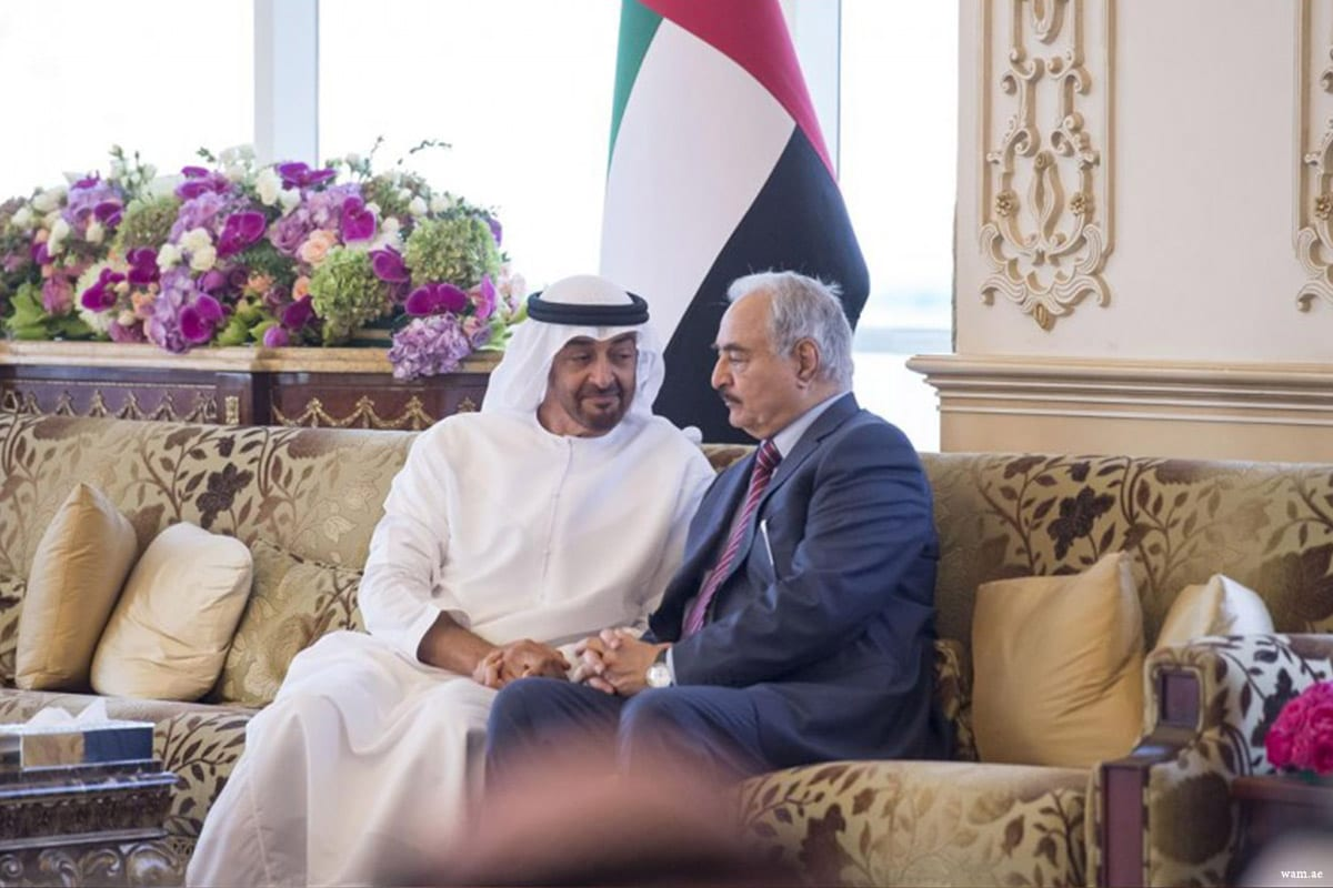 Image of UAE Crown Prince Sheikh Mohamed Bin Zayed Al Nahyan and Libya's Field Marshall Khalifa Haftar [wam.ae]