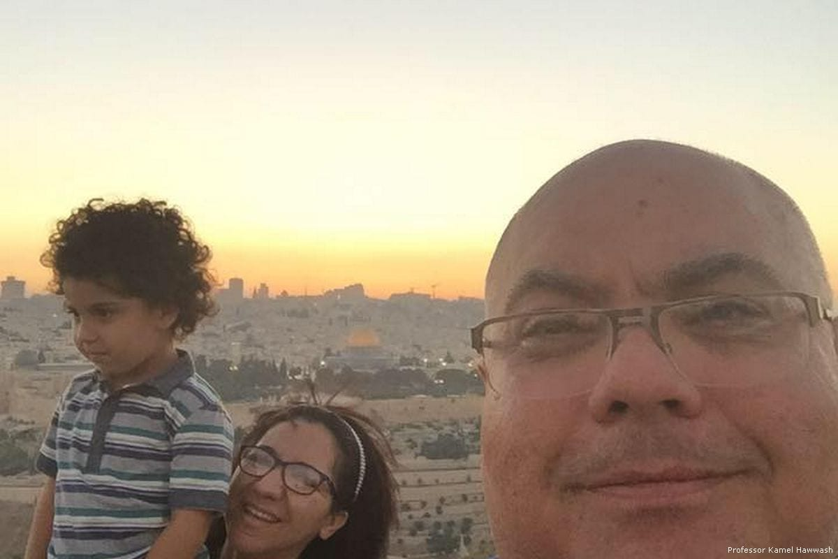 Image of Professor Kamel Hawwash and his family on a previous trip to Jerusalem [Professor Kamel Hawwash]