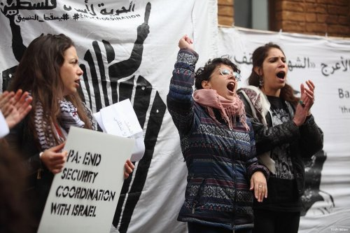 Activists gather outside the Palestinian Mission in London demanding the Palestinian Authority to end the security coordination with Israel on 17 April 2017 [Rich Wiles]