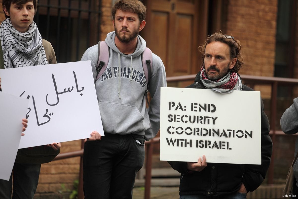 Activists gather outside the Palestinian Mission in London demanding the Palestinian Authority to end its security coordination with Israel on 17 April 2017 [Rich Wiles]