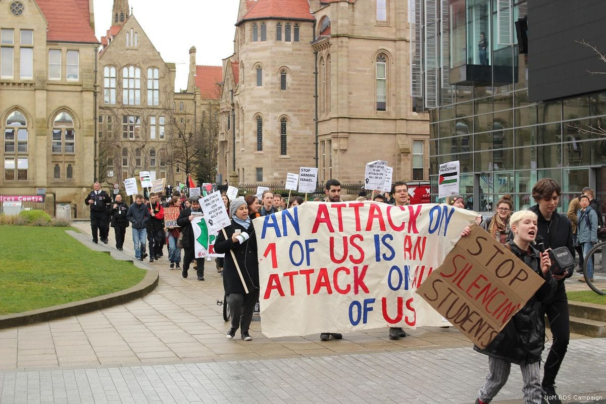 Students belonging to the University of Manchester take part in a BDS campaign