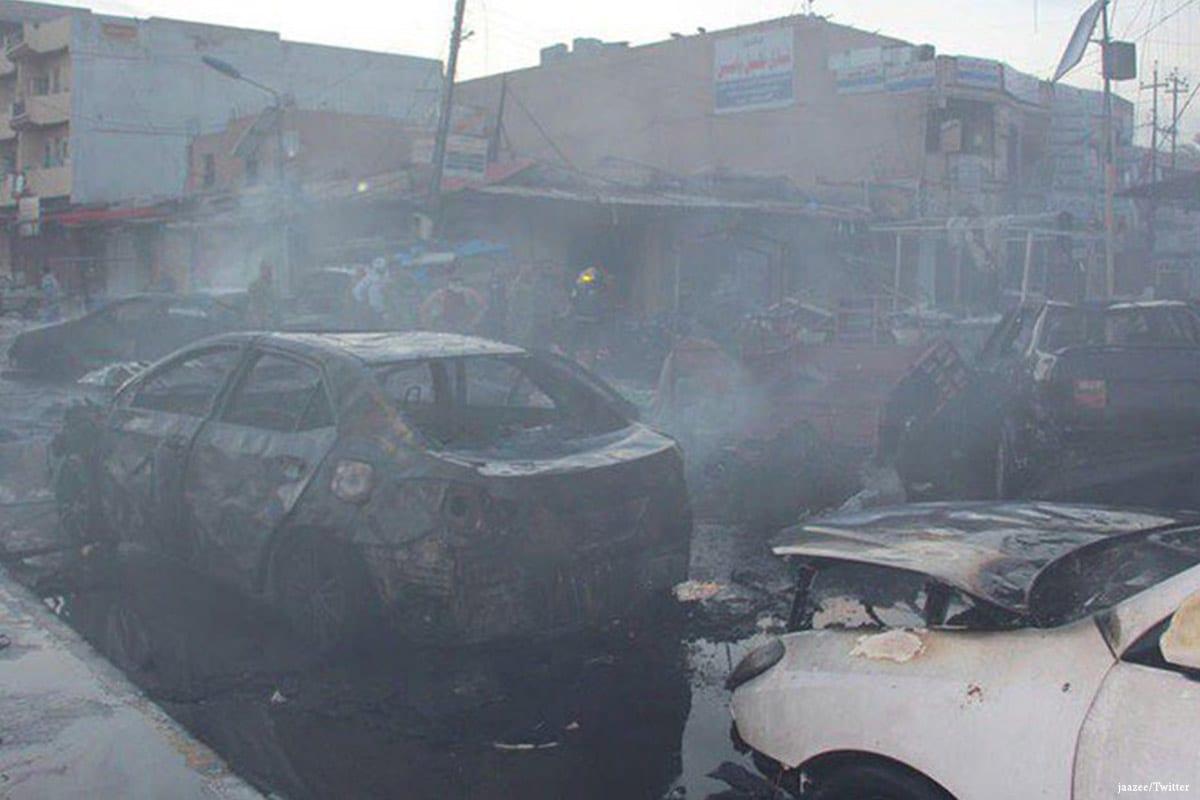 Car bomb attack in Tikrit, Iraq on 5 April 2017 [jaazee/Twitter]