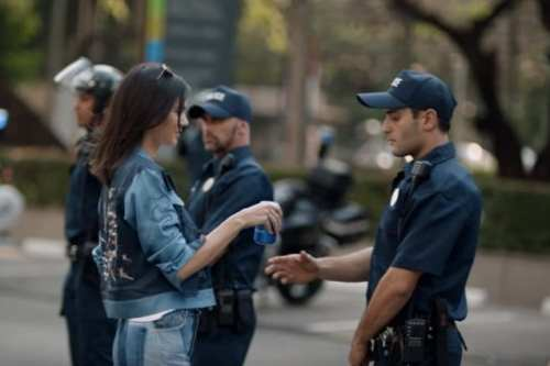 Fashion model and reality TV star Kendall Jenner stars in a controversial Pepsi advert which prompted social media users to launch the hastag #PepsiLivesMatter. [YouTube]