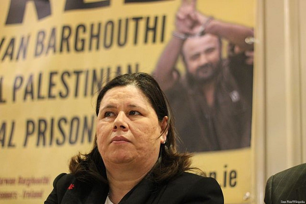Image of Fadwa Barghouti at a 'Free Marwan Barghouti and All Palestinian Prisoners' conference on 7 May, 2014 [Sinn Féin/Wikipedia]