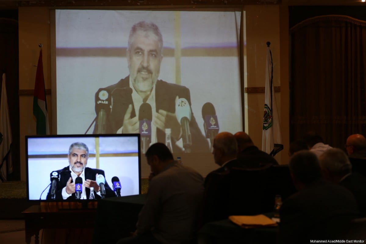 Head of Hamas' political bureau Khaled Meshaal announces the movement's new Charter on 2 May 2017. [Mohammed Asad/Middle East Monitor]