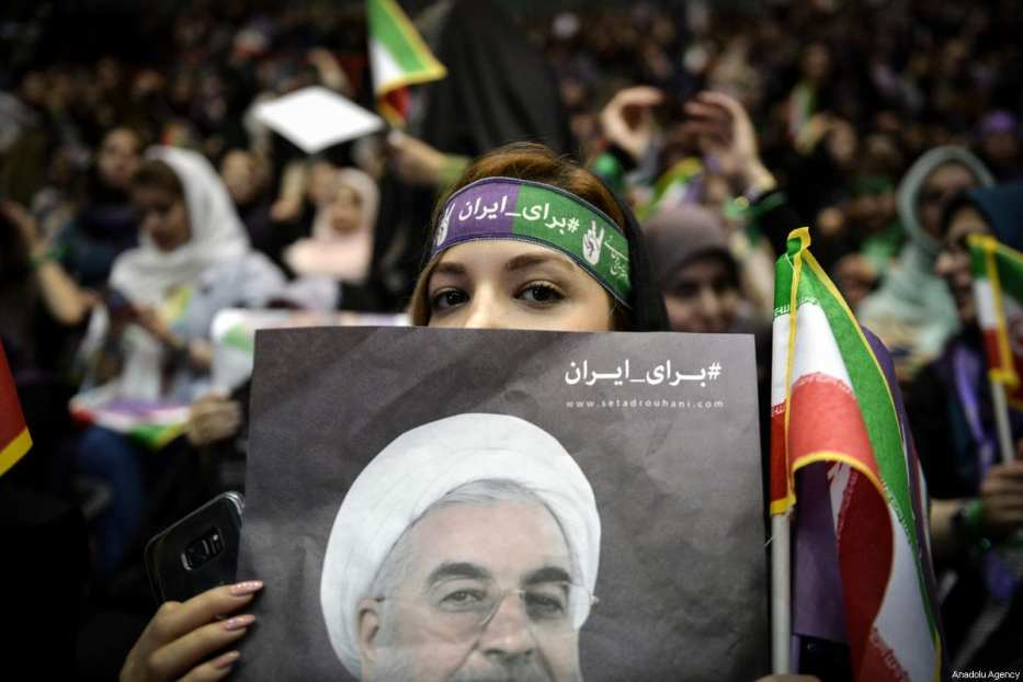 Supporters of the Iranian Presidential candidate, Hassan Rouhani, rally outside the Azadi Sport Complex in Tehran, Iran on May 13, 2017 [Fatemeh Bahrami/Anadolu Agency]
