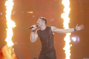 Israel's representative for Eurovision 2017 Imri Ziv performs on the stage during the Grand-Final of the Eurovision Song Contest in Kiev, Ukraine, on May 13, 2017 [Vladimir Shtanko / Anadolu Agency]