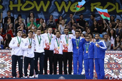 Mehmet Yakan of Turkey wins a silver medal after competing with Roman Heydarov (not seen) of Azerbaijan in the Men's Karate Kata during the 4th Islamic Solidarity Games at Heydar Aliyev Arena in Baku, Azerbaijan on 14 May 2017 [Resul Rehimov/Anadolu Agency]