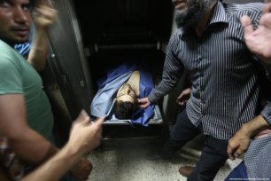 The body of Muhammad Majid Bakr, a 23-year-old resident from the Al-Shati refugee camp, can be seen. He was shot by Israeli naval forces at around 08:30 on 15 May 2017 while fishing off the coast of Gaza with his brother Umran Majid Bakr. [Mohammed Asad/Middle East Monitor]