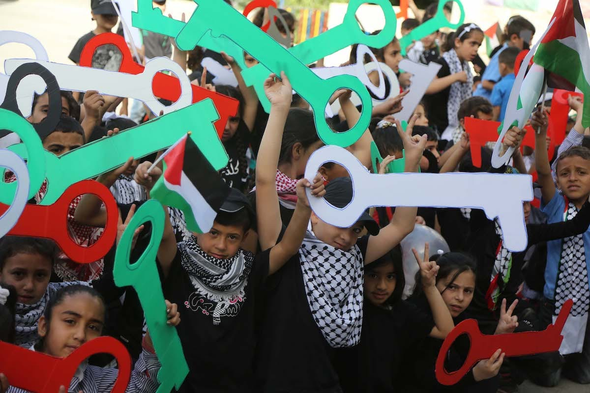 Palestinians march during a demonstration marking the 69th anniversary of Nakba, also known as Day of the Catastrophe in 1948, Ramallah, West Bank on May 15, 2017 [Issam Rimawi/Anadolu Agency]