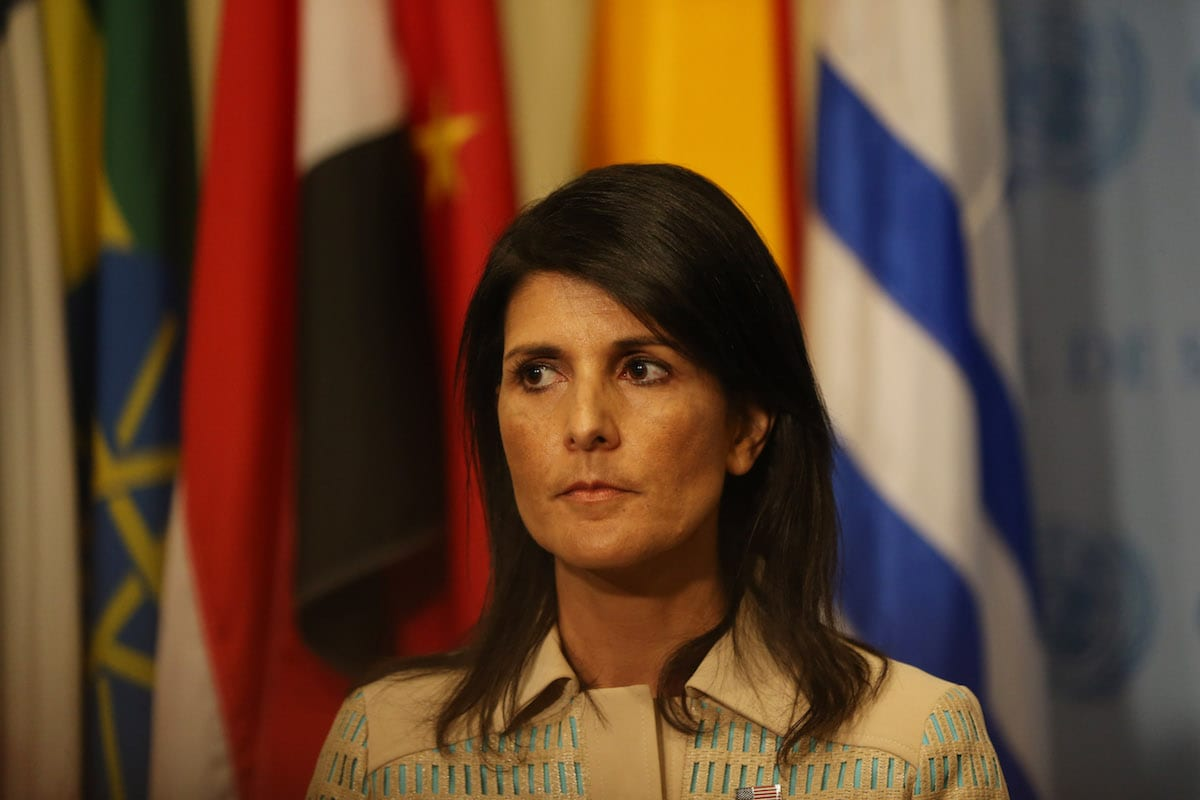Image of US Ambassador to the United Nations Nikki Haley (C) in New York, US on May 16, 2017 [Mohammed Elshamy/Anadolu Agency]