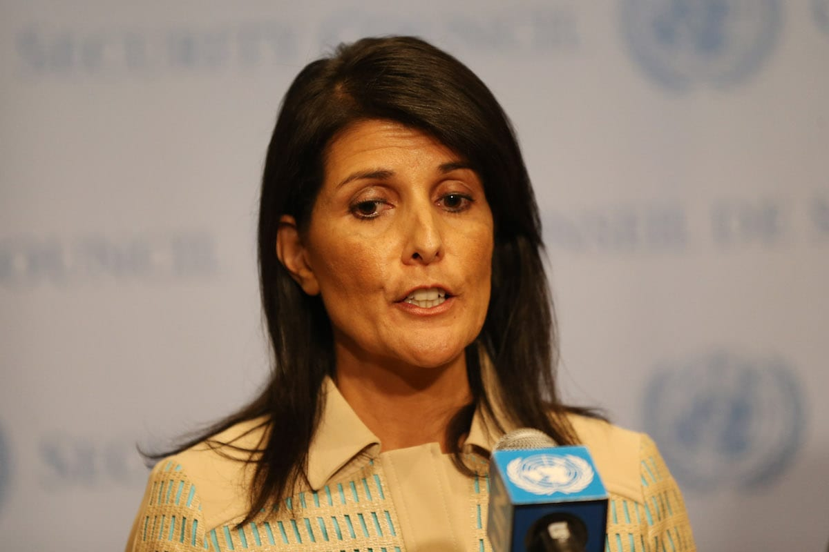 Image of US Ambassador to the UN Nikki Haley on May 16, 2017 [Mohammed Elshamy/Anadolu Agency]