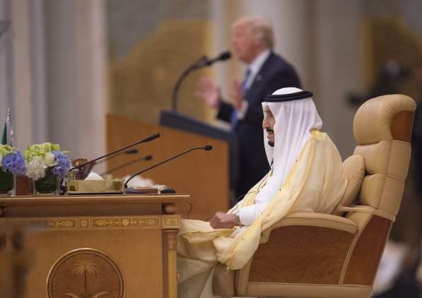 US President Donald Trump delivers a speech during the Arabic Islamic American Summit in Riyadh, Saudi Arabia on May 21, 2017 [Bandar Algaloud / Saudi Kingdom Council / Handout/Anadolu Agency]
