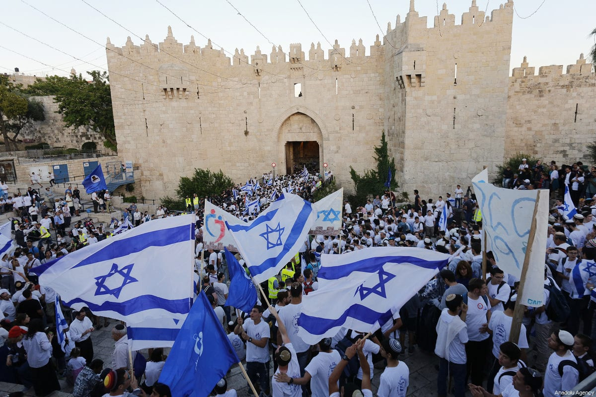 Israelis celebrate the 50th anniversary of Israel's occupation of East Jerusalem at Damascus Gate in Jerusalem on 24 May, 2017 [Mostafa Alkharouf / Anadolu Agency]