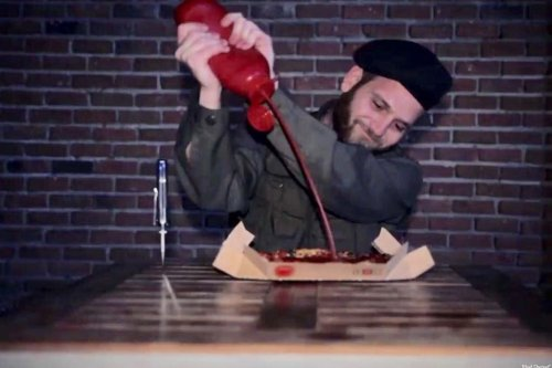Video campaign, 'Feed the killers' in response to the Pizza Hut advert used in Israel which mocked Palestinian hunger striking prisoners [Jihad Shereef]