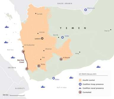 Infographic of the Houthis controlled areas in Yemen. Click to enlarge [Image: ecfr.eu] - click to enlarge