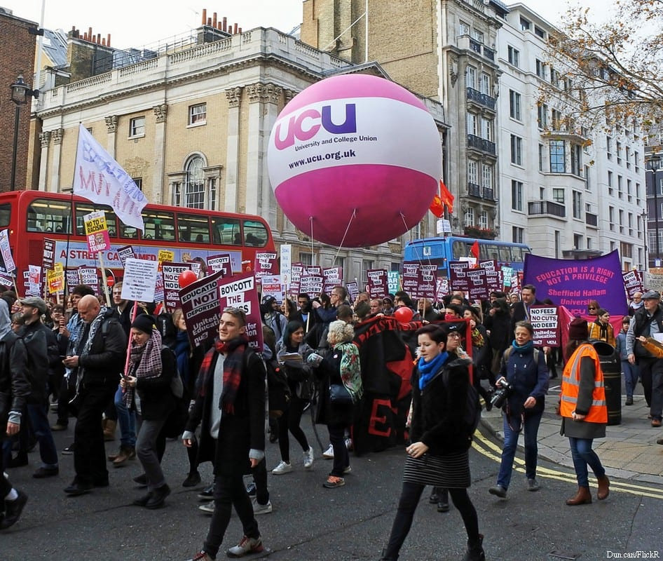Protest where the logo of the University and College Union is seen on a balloon [Dun.can/FlickR]