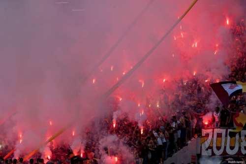 BEN AROUS, TUNISIA - Fans light up a football match!