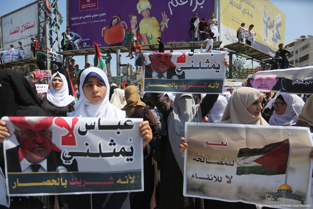Thousands of Palestinians in the Gaza Strip protested against President Mahmoud Abbas' policies against the besieged enclave on 2 May 2017 [Mohammed Asad/Middle East Monitor]