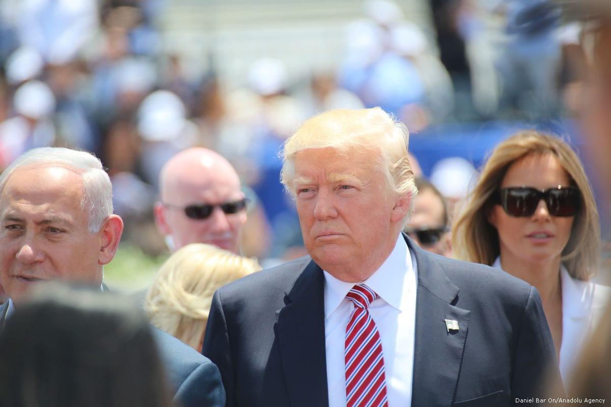 US President Donald Trump arrives in Tel Aviv, Israel on 22 May 2017 [Daniel Bar On/Anadolu Agency]