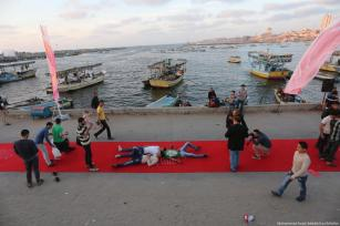 A performance during the third annual human rights film festival opening ceremony in Gaza on 12 May 2017