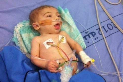 18-month-old Palestinian Abdulrahman Barghouti was hospitalised on May 19 2017 after Israeli forces showered his home in tear gas. [Twitter]