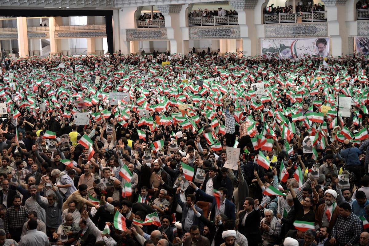 Supporters of Iranian cleric and presidential candidate Ebrahim Raisi gather during a rally prior to presidential elections in Tehran, Iran on May 16, 2017 [Fatemeh Bahrami / Anadolu Agency]
