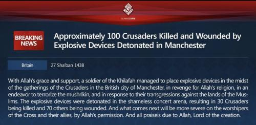 Daesh press release claiming the Manchester bombing of 22 May 2017