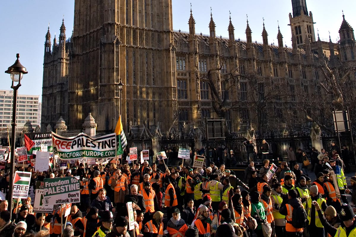 Image of a protest against Israel's actions in the Gaza strip outside the British parliament in London, UK [Boycott Israel/Facebook]