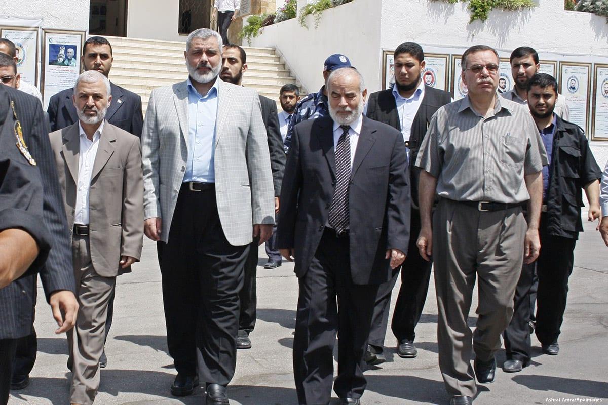 Image of senior Hamas leaders [Ashraf Amra/Apaimages]