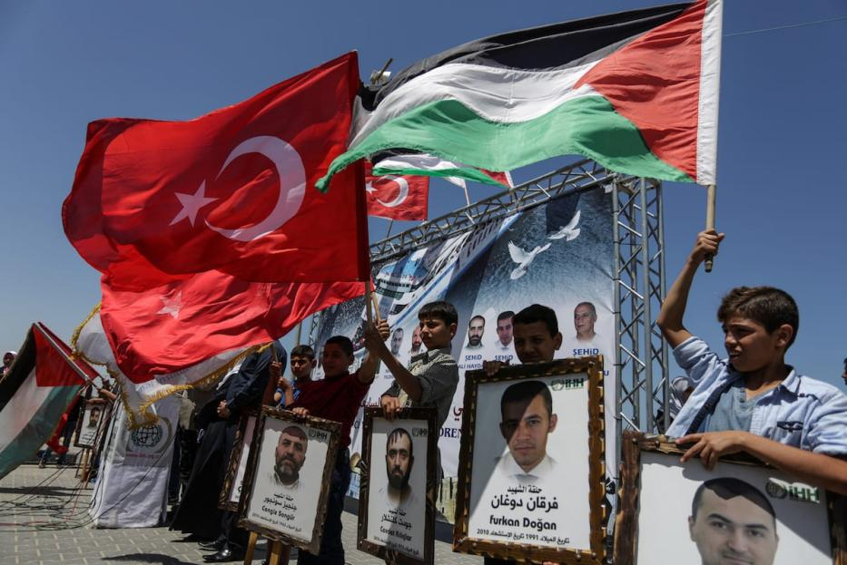 Palestinian children re-enact 2010's Mavi Marmara flotilla incident during a commemoration ceremony for those who lost their lives in Gaza City, Gaza on May 31, 2017 [Ali Jadallah/Anadolu Agency]
