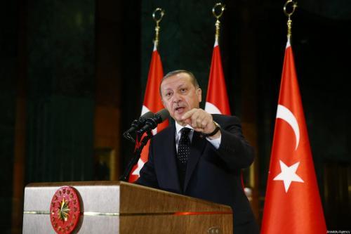 President of Turkey Recep Tayyip Erdogan (C) speaks during 38th Mukhtars Meeting in Ankara, Turkey on June 1, 2017 [Kayhan Özer / Anadolu Agency]