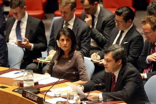 US Ambassador to the UN Nikki Haley (C) attends the UN Security Council meeting on 2 June 2017 [Mohammed Elshamy/Anadolu Agency]