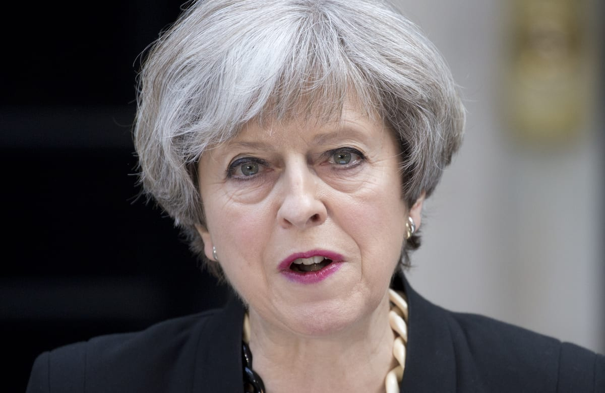 British Prime Minister Theresa May delivers a statement outside number 10 Downing Street following the terror attack at London Bridge and Borough Market, in London, England on June 04, 2017 [Isabel Infantes/Anadolu Agency]