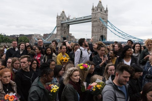 People attend a vigil at City Hall to honour victims of the London Bridge terrorist attack in London, UK on June 05, 2017 [Ray Tang/Anadolu Agency]