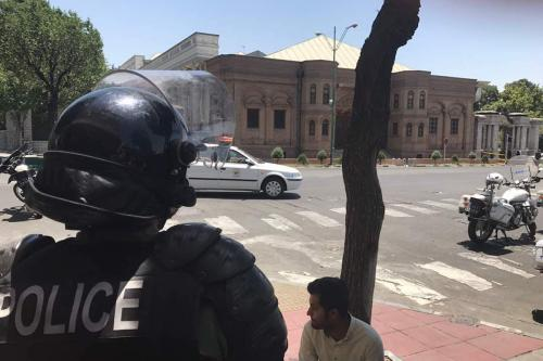 Police take security measures after gunmen opened fire at Iran's parliament and the shrine of Ayatollah Khomeini in the capital Tehran, Iran on June 7, 2017 [Fatemeh Bahrami/Anadolu Agency]