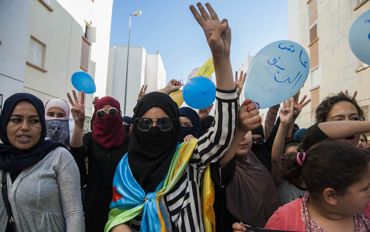 Protesters, supporting Rif Movement leader Nasser Zefzafi, stage a demonstration demanding the government to take action for developing the region in Hoceima, Morocco on June 11, 2017 [Jalal Morchidi/Anadolu Agency]