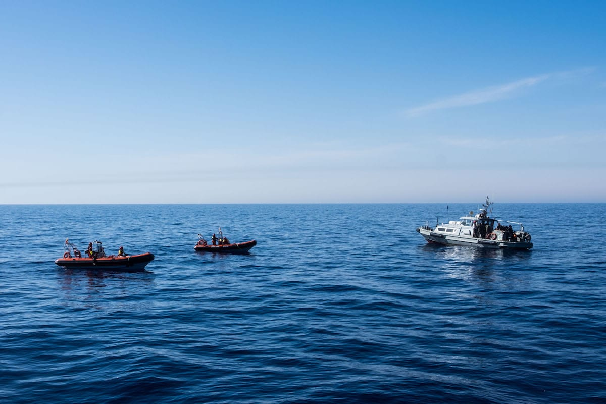 Libyan Coast Guards are seen in the Mediterranean Sea reusing migrants, near Libya [Marcus Drinkwater / Anadolu Agency]