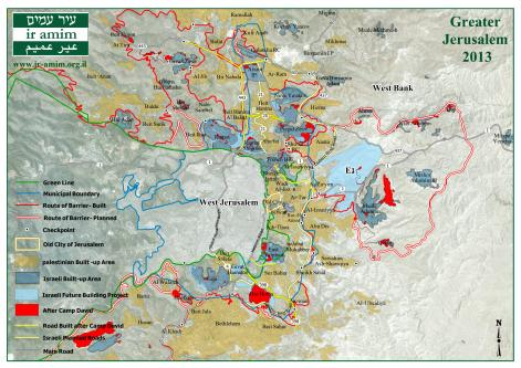A map showing the boundaries, settlements, barriers and roads in the Israeli occupied Jerusalem and West Bank [Ir Amim]