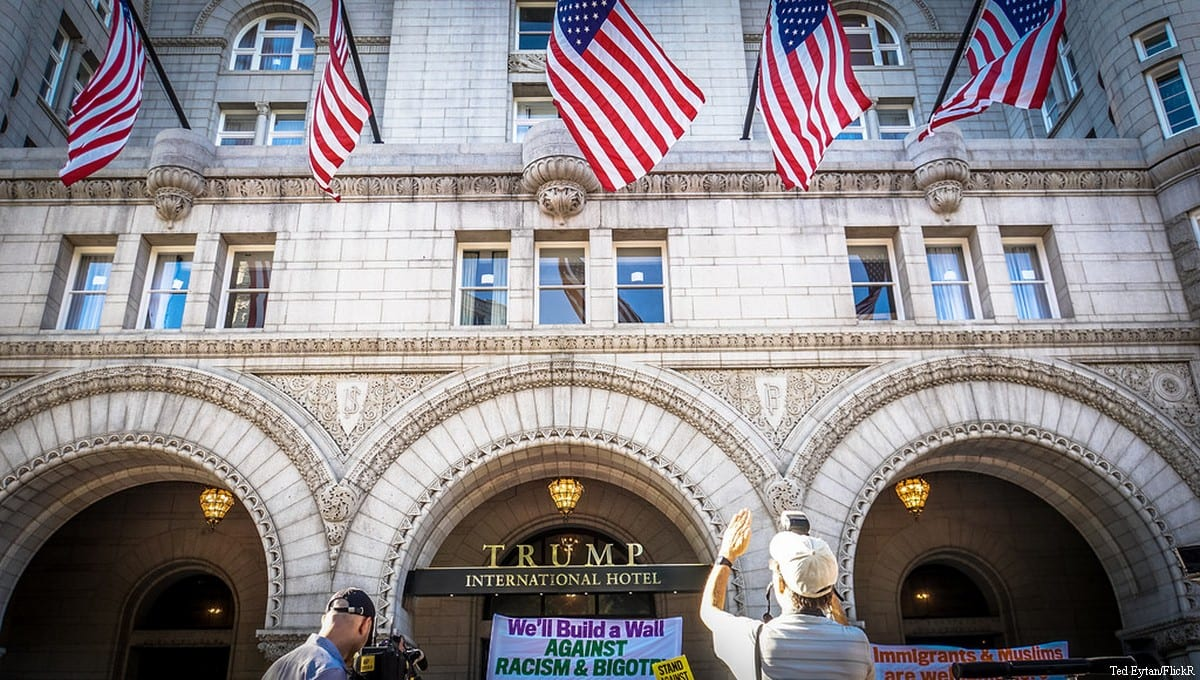 Protesters denounce Donald Trump outside the Trump International Hotel, Washington DC, USA [Ted Eytan/FlickR]