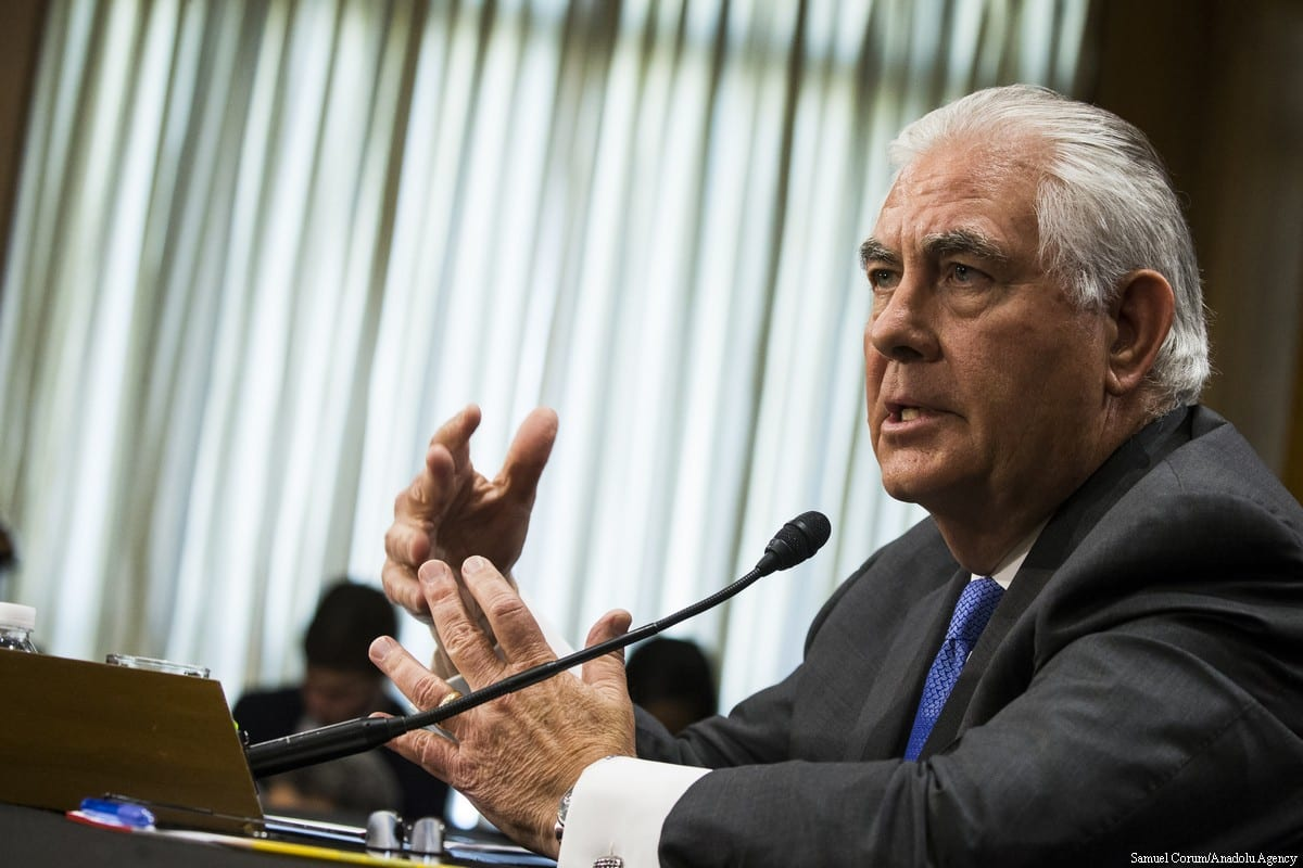 Secretary of State Rex Tillerson testifies before the Senate Foreign Relations Committee on the the President Trumps proposed 2018 budget for the State Department in Washington, USA on 13 June, 2017 [Samuel Corum/Anadolu Agency]
