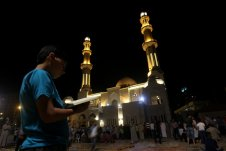 GAZA CITY, GAZA- Gazans fill a Mosque in Gaza on the 27th night of Ramadan which is the busiest night during the holy month