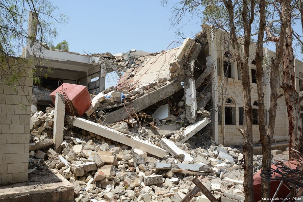 Image buildings in ruin after an airstrike hit Yemen on 6 August 2016 [United Nations OCHA/Flickr]