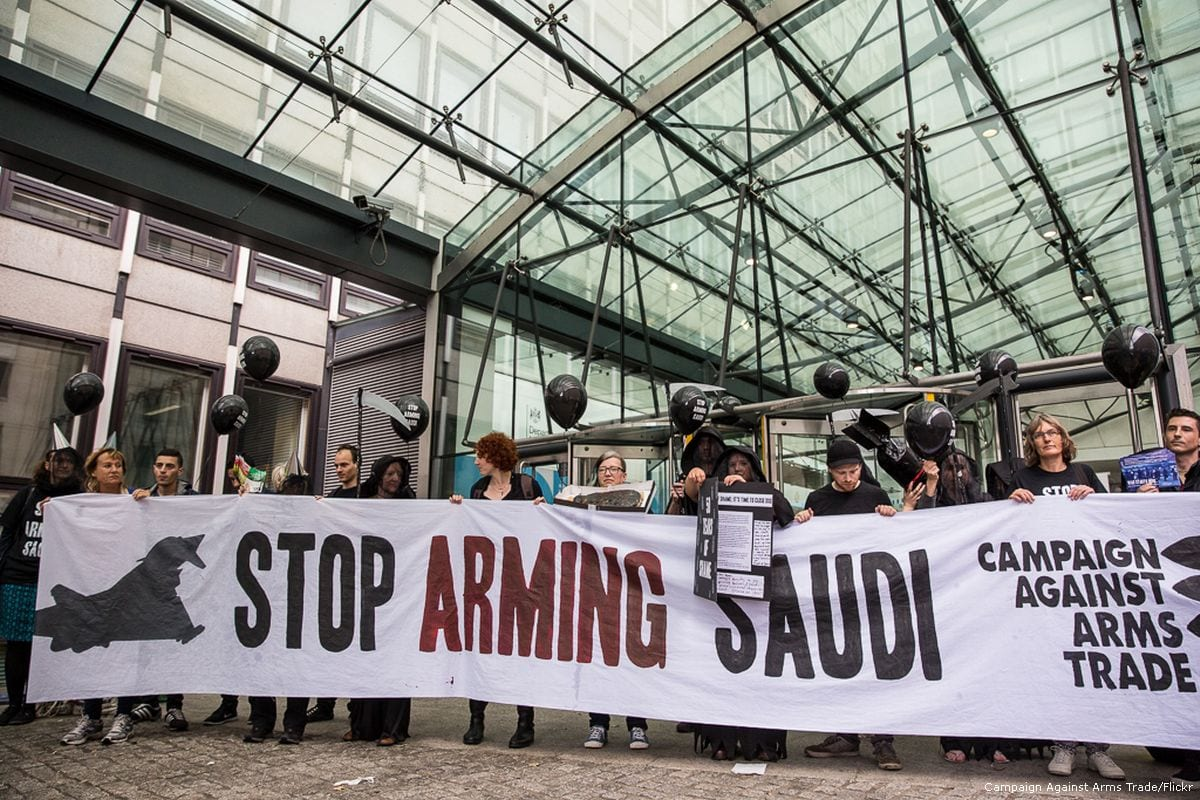 Human rights campaigners protest against the UK arms sales to Saudi Arabia in London, UK on 11 July 2016 [Campaign Against Arms Trade/Flickr]