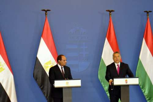 President of Egypt, Abdel Fattah el-Sisi (L) and Prime Minister of Hungary Viktor Orban (R) hold a joint press conference following their meeting in Budapest, Hungary on 3 July, 2017 [Mehmet Yılmaz/Anadolu Agency]