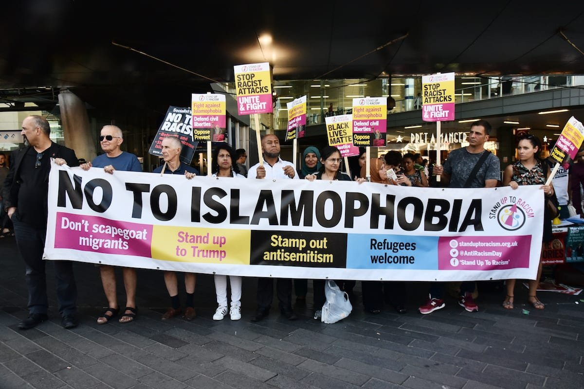 Protesters hold a banner reading 'No To Islamophobia' in London, UK on 5 July 2017 [Ray Tan/Anadolu Agency]