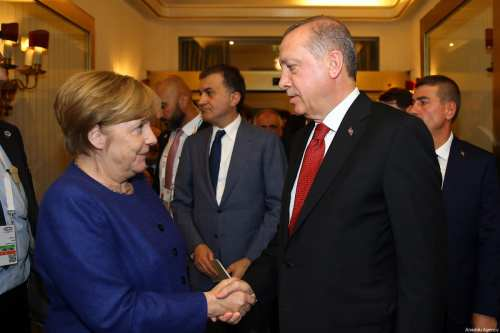 German Chancellor Angela Merkel (L) shakes hand with President of Turkey, Recep Tayyip Erdogan (R) as she welcomes him prior to G20 Leaders' Summit at Hotel Atlantic Kempinski in Hamburg, Germany on July 06, 2017 [Kayhan Özer / Anadolu Agency]
