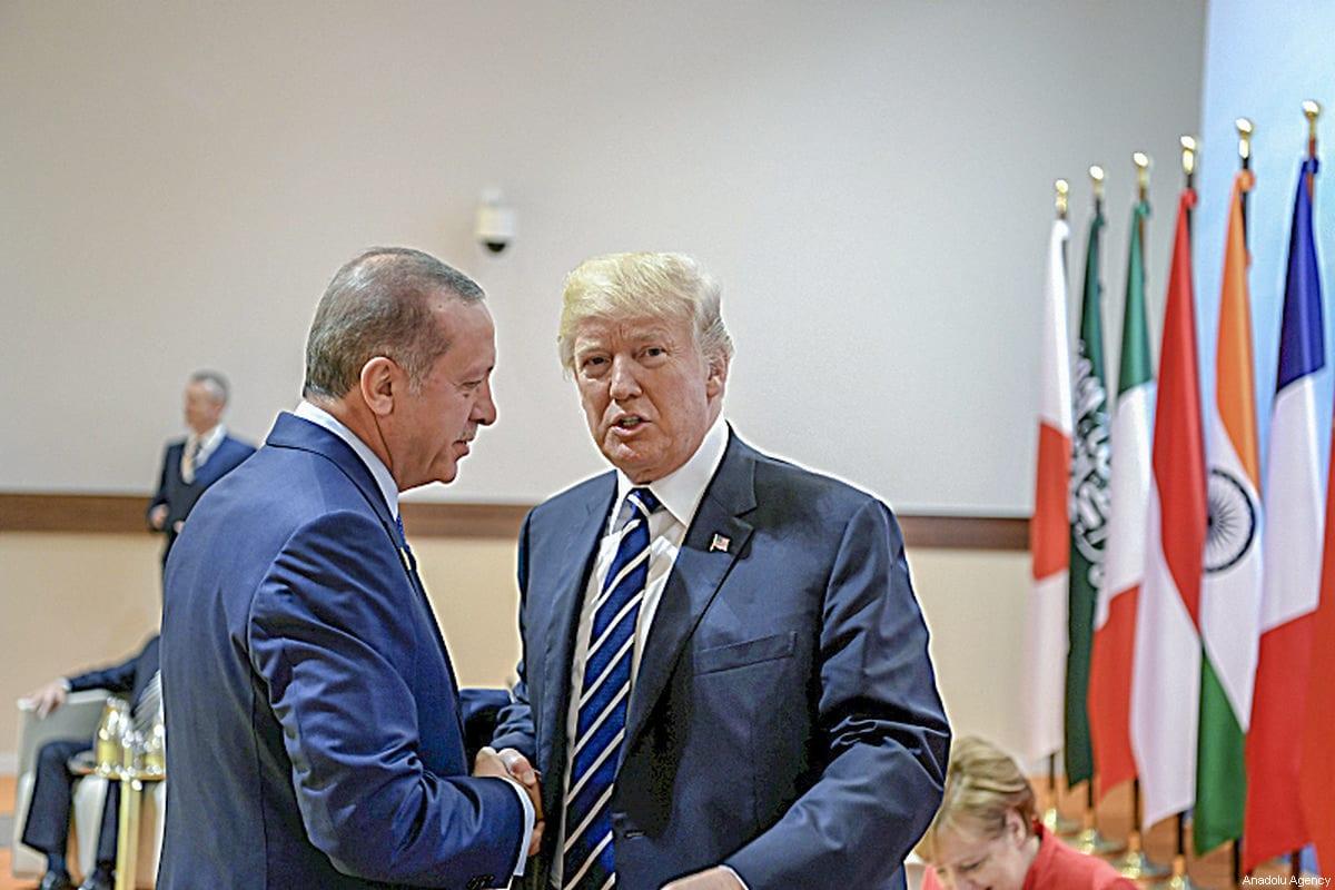 President of Turkey Recep Tayyip Erdogan (L) meets with US President Donald Trump (R) during the G20 Leaders' Summit in Hamburg, Germany on July 07, 2017 [Turkish Presidency / Handout - Anadolu Agency]