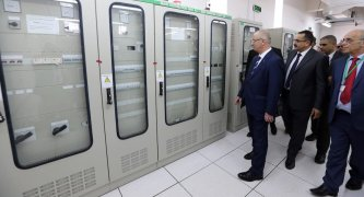 Prime Minister of Palestine Rami Hamdallah speaks after attending the opening ceremony of a power plant with Israel's Minister of National Infrastructure, Energy and Water Resources Yuval Steinitz (not seen) in Jalamah, near the northern West Bank city of Jenin on 10 July, 2017 [Palestinian Presidency Handout/Anadolu Agency]