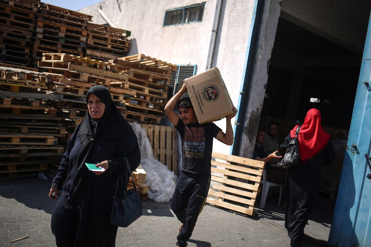 Humanitarian aid materials is seen in Gaza City, Gaza [Ali Jadallah/Anadolu Agency]